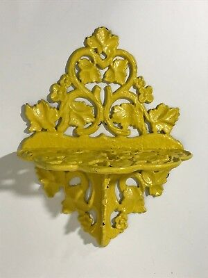 Vintage Yellow Cast Iron Wall Shelf Leaves Leaf Floral Architectural Metal Ledge