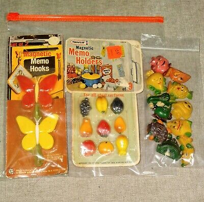 Vintage Lot of 22 Fridge Magnets Anthropomorphic Fruit & Veggie, Butterfly Clips