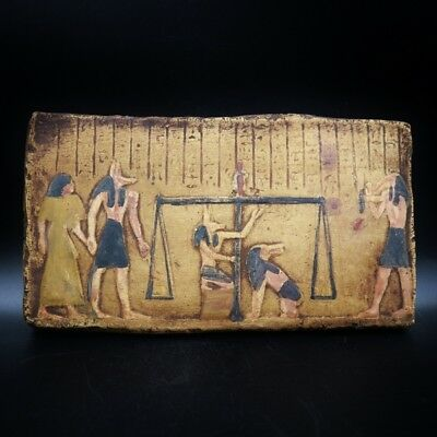 Antique Wall Plaque of Ancient Egyptian Judgment Day of the Dead...Large