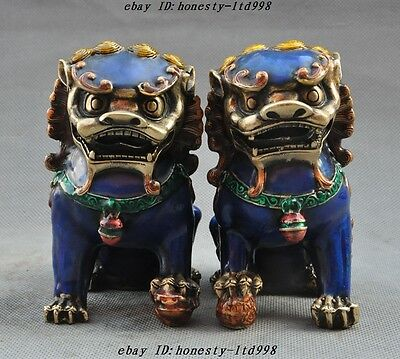 Chinese Fengshui Bronze Cloisonne Evil spirits Guardian Foo Dog Lion Statue Pair
