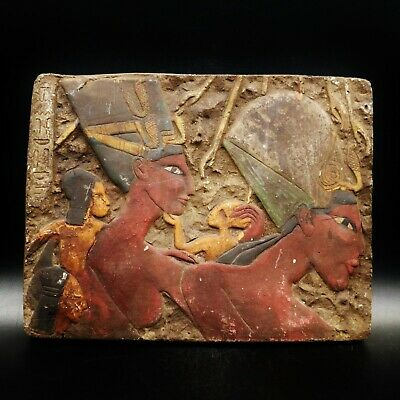 Wall Plaque Queen Nefertari & Akhenaten EGYPTIAN Stella Fragment Relief Antique