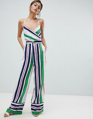 4c0271c53648 FUN Auth TED BAKER Bay of Honour Stripe STRAPPY Crepe WRAP Front JUMPSUIT  Romper