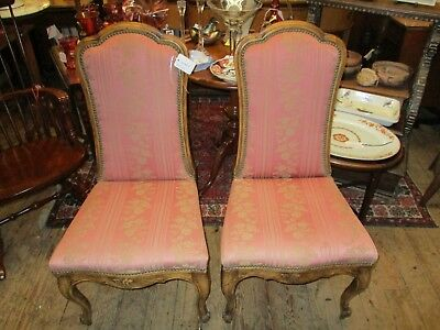 Vintage Pair Of French Style Upholstered Side Chairs