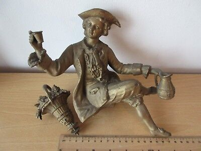 Antique French Gilt Spelter Ormalu Clock Statue Figure & Flower Basket - Superb