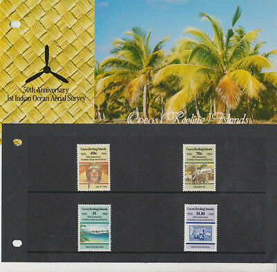 COCOS (Keeling) ISLANDS MNH 1989 P OFFICE PACK AERIAL SURVEY AVIATION SG 207-210