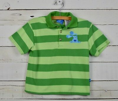 Boys Blues Clues Sz 5 Green Striped Steve Ss Polo Shirt Top