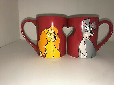 Disney Parks LADY and The TRAMP  Heart  Ceramic Coffee 2 Mug Cup Set, excel cond