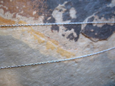 """10 KT White Gold Cable Link Chain Necklace 20"""" SUPER Thin/Fine Delicate NEW"""