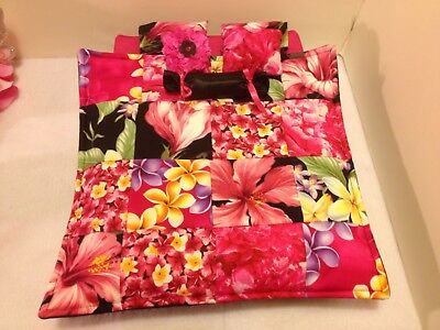 PINK HIBISCUS QUILT Double Bed For Monster High, Barbie, And Bratz Dolls
