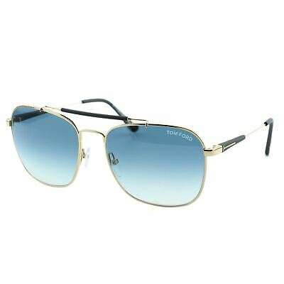 14253bc546ee Tom Ford Edward FT0377 28W Gold Metal Top Bar Square Sunglasses 58mm