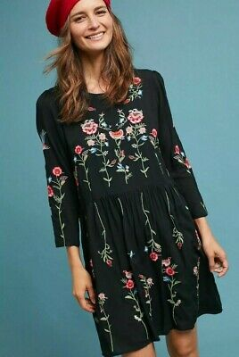 8ea9dffe36a7 NWT Anthropologie Allison Embroidered Tunic Dress Sz M P Medium Petite Maeve