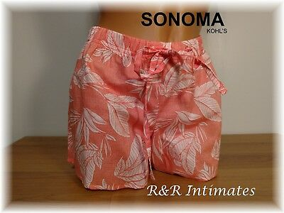 Sonoma 100% Cotton Sleep Shorts, Coral Floral, Size XSmall