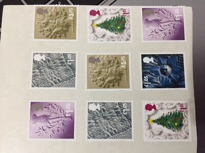 200 X £1.05 Stamps unfranked ROYAL mail peelable & original strong gum xmas offe