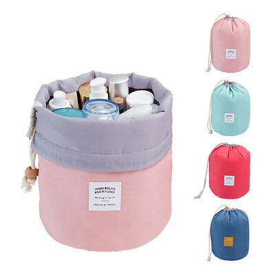 Women Barrel Drawstring Make Up Cosmetic Bag Travel Wash Organizer Storage Pouch