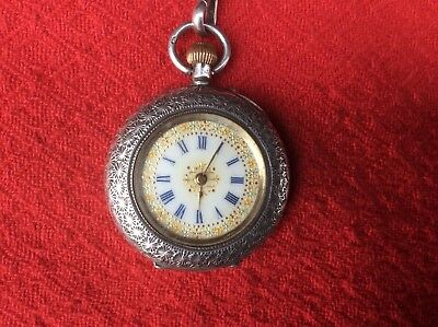 Antique Victorian Silver Ladies Fob Watch And Albertina.