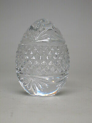 Vintage European CRYSTAL GLASS EGG Easter Fan Facets Heavy Paperweight Figurine