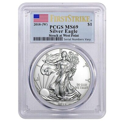 2018 (W) 1 oz Silver American Eagle $1 Coin PCGS MS 69 First Strike