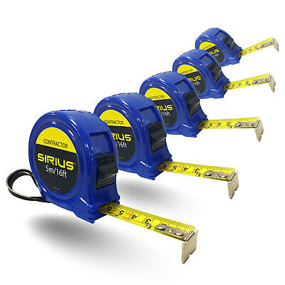 Sirius 5 Piece Contractor Tape Measure Trade Pack Imperial & Metric 16ft / 5m 19