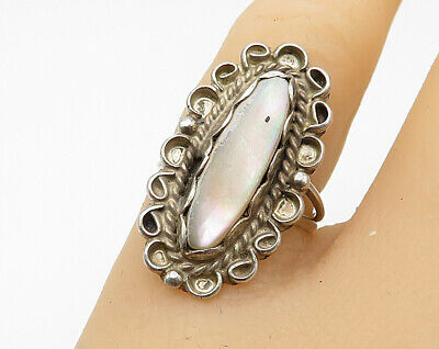 Strong-Willed 925 Silver Vintage Mother Of Pearl Multi-hole Love Heart Ring Sz 9 R4159