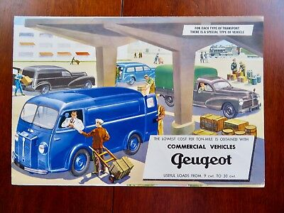SUPER RARE! Original 1955 Peugeot Commercial Vehicles Color Brochure 8 pgs. VG+!
