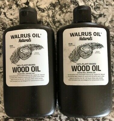Lot Of 2~ WALRUS OIL Naturals Vegan Wood Oil Finish Conditioner 100% Plant-Based