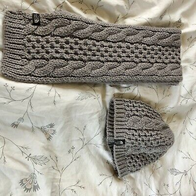 b98fc40a1 THE NORTH FACE Gray Chunky Knit Woven Winter Beanie Hat (FL #219 ...