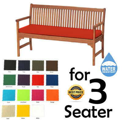 3 Seater Outdoor Water Resistant Bench/Swing Seat Cushion Only Garden Furniture