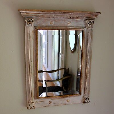 French Directoire Style Gilt Wood and Painted Beveled Mirror