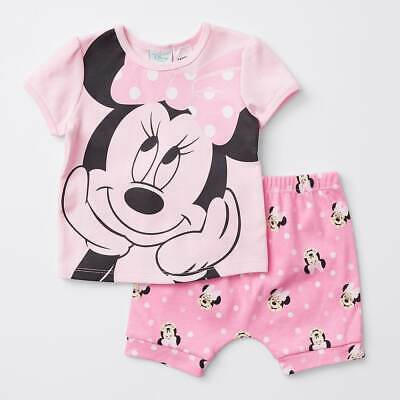 Disney Baby Minnie Mouse Pink Summer Pyjama Set Size 00 New with Tags