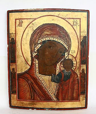 Antique 19th C Russian Orthodox Hand Painted Wood Icon of Kazan Mother of God