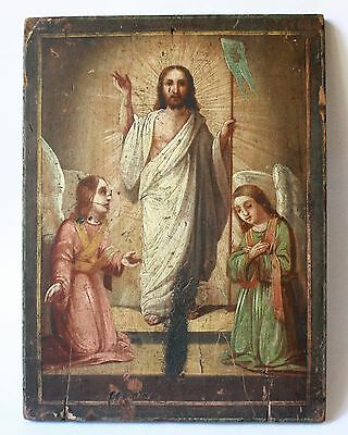 Antique 19thC Russian Hand Painted on Wood Panel Icon The Resurrection of Christ