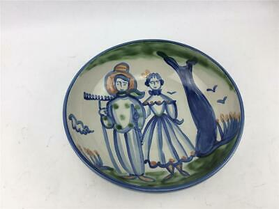 """M.A. Hadley Pottery Large Serving Bowl 11"""" X 3.5"""" Farmer & Wife"""