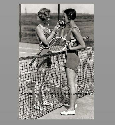 Sexy Vintage Tennis Girls Smoking Cigarette PHOTO Creepy Crazy Strange Hot Girls