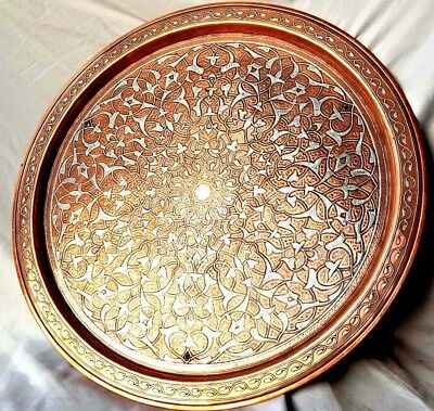 Middle East Islamic [ Solid ] Silver Inlaid Art 45cm Hammer Engraved Copper Tray