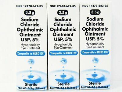 Akorn Sodium Chloride Ophthalmic Eye Ointment 5% 3.5gm -3 Pack - Exp 05-2021