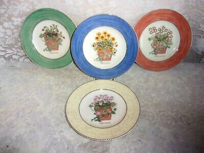 FOUR Wedgwood Sarah's Garden 8 Inch Various Colored Floral Salad / Dessert