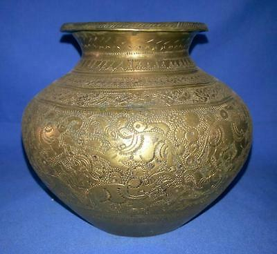 Antique Brass Old Hand Carved Animal Figure Hindu Pooja Holy Water Pot Kalash