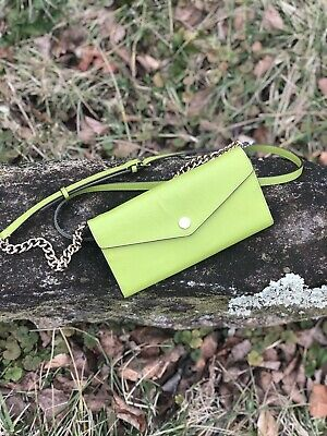 f4ecf1ce3ca9 MICHAEL KORS LIME GREEN SAFFIANO LEATHER CHAIN WALLET CROSSBODY BAG ...