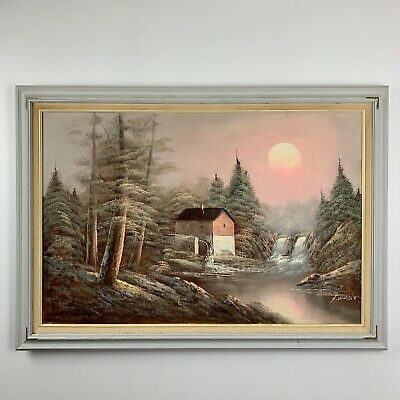 Old Mill Waterfall Sunset Oil on Canvas Painting Signed H Wilson framed 24 x 36