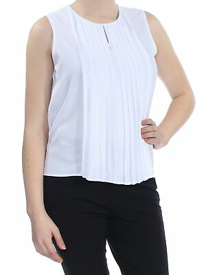 2cf751fdda09d1 CALVIN KLEIN  44 Womens New 1209 White Pleated Sleeveless Top M Petites B+B