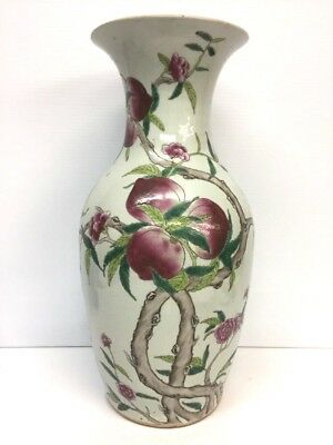Beautiful Antique Chinese Enamel on Porcelain Vase 17 1/4'' Tall