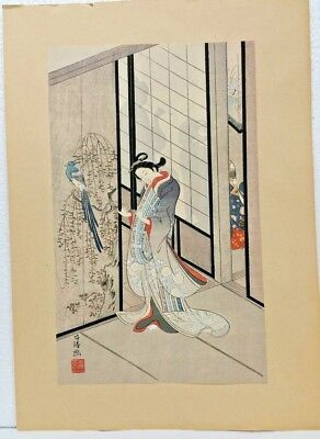 Antique 100% Authentic Japanese Woodblock Print With Original Signuter