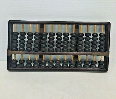 Old Chinese Carved Wood Abacus 13 Rows 91 Beads