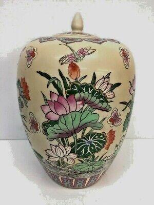 Old Chinese Famille Rose Enamel Porcelain Jar Cranes 4 Character Mark