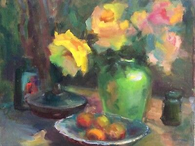 "Original Impressionism Daily Oil Painting 16""x20"" Floral Still Life Signed"