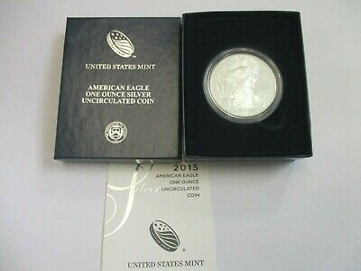 2015 One Ounce 1 Oz Silver American Eagle Uncirculated  With Box & Coa