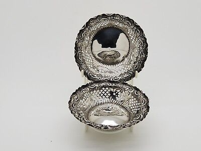 Antique Pair Of Solid Silver Pierced Dishes by George Nathan & Ridley Hayes