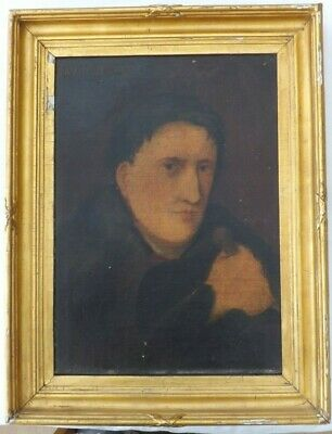 ANTIQUE FRAMED OIL ON CANVAS PAINTING A PORTRAIT STUDY OF DAVID VERNER 1820s