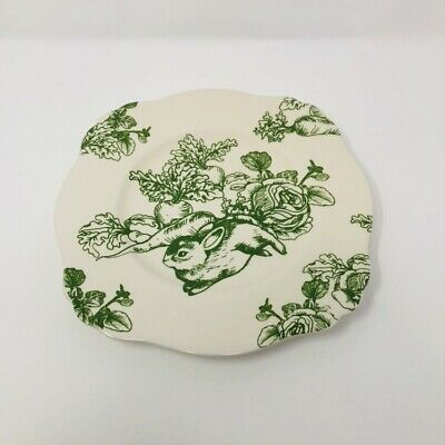 Bunny Toule J Willfred Square Luncheon Salad Desert Plate Green White Easter