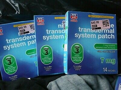 New Rite Aid Nicotine Transdermal System Patch Step 3 7mg 42 Patches EXP 01/2019